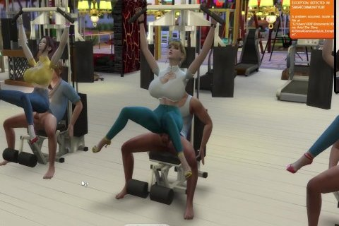 The Sims 4:6 People Gym Weightlifting Machine Training Sex